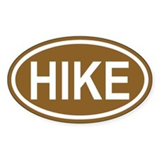 HIKE Hiking Brown Euro Oval Decal
