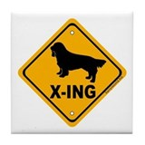 Sussex Spaniel X-ing Tile Coaster