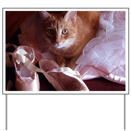 Cat and Ballet Slippers Yard Sign