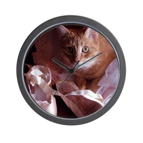 Cat and Ballet Slippers Wall Clock