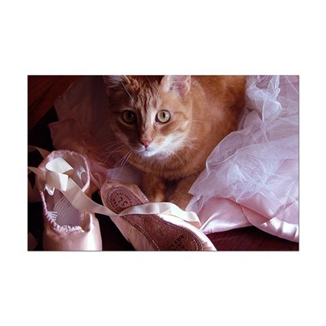 Cat and Ballet Slippers Mini Poster Print
