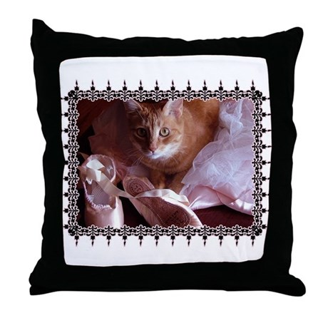Cat and Ballet Slippers Throw Pillow
