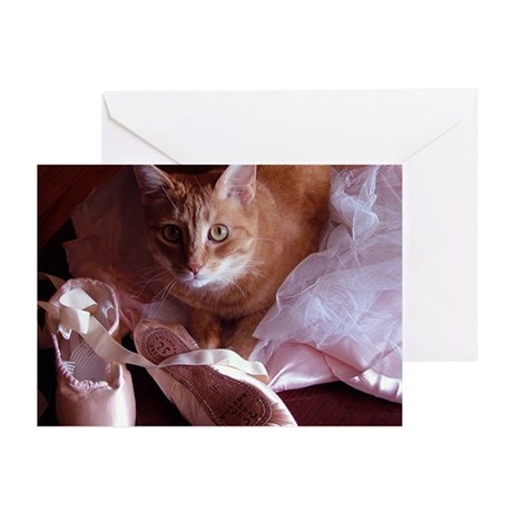 Cat and Ballet Slippers Greeting Cards (Pk of 10)