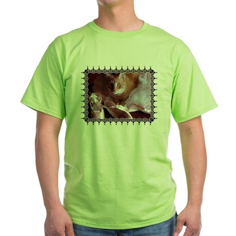 Cat and Ballet Slippers Green T-Shirt