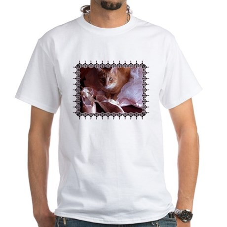 Cat and Ballet Slippers White T-Shirt