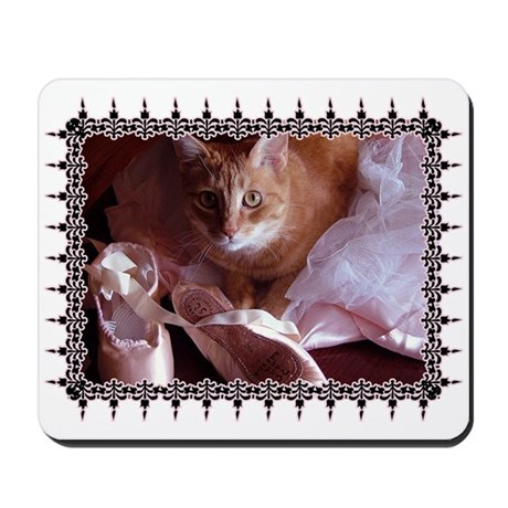 Cat and Ballet Slippers Mousepad