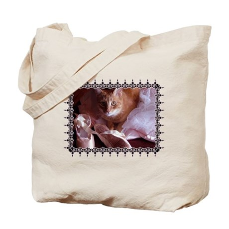 Cat and Ballet Slippers Tote Bag