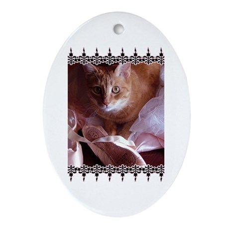 Cat and Ballet Slippers Oval Ornament