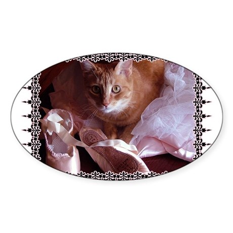 Cat and Ballet Slippers Oval Sticker