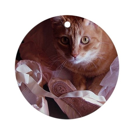 Cat and Ballet Slippers Ornament (Round)