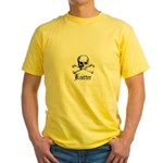 Knitter - Crafty Pirate Skull Yellow T-Shirt