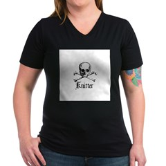 Knitter - Crafty Pirate Skull Women's V-Neck Dark
