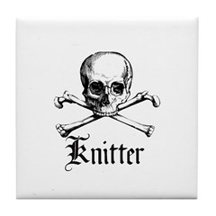 Knitter - Crafty Pirate Skull Tile Coaster