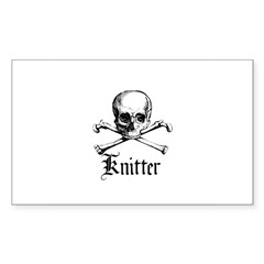 Knitter - Crafty Pirate Skull Sticker (Rectangular