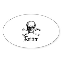 Knitter - Crafty Pirate Skull Oval Sticker