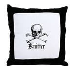 Knitter - Crafty Pirate Skull Throw Pillow
