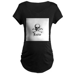 Knitter - Crafty Pirate Skull Maternity Dark T-Shi