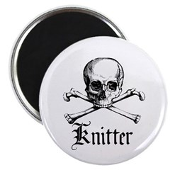 Knitter - Crafty Pirate Skull 2.25&quot; Magnet (10 pac