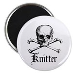 Knitter - Crafty Pirate Skull Magnet