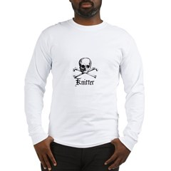 Knitter - Crafty Pirate Skull Long Sleeve T-Shirt