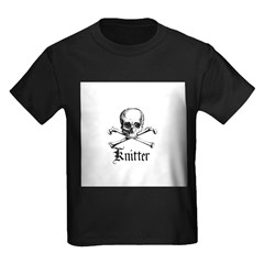 Knitter - Crafty Pirate Skull Kids Dark T-Shirt