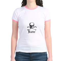Knitter - Crafty Pirate Skull Jr. Ringer T-Shirt