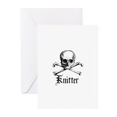 Knitter - Crafty Pirate Skull Greeting Cards (Pk o