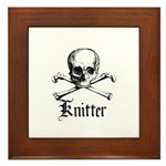 Knitter - Crafty Pirate Skull Framed Tile