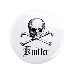 "Knitter - Crafty Pirate Skull 3.5"" Button"