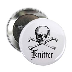 "Knitter - Crafty Pirate Skull 2.25"" Button"