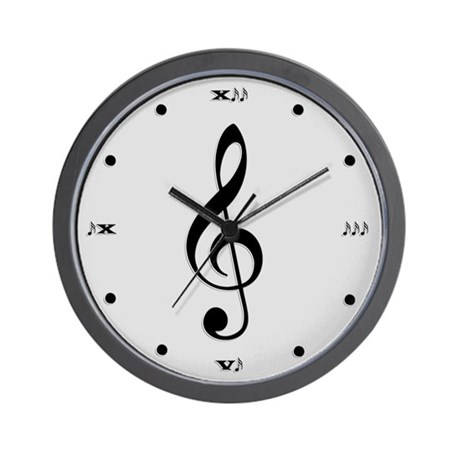 Silver Treble Clef Wall Clock
