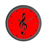 Red Treble Clef Wall Clock