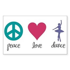 Peace, Love & Dance Rectangle Decal
