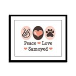 Peace Love Samoyed Framed Panel Print