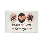 Peace Love Samoyed Rectangle Magnet (10 pack)