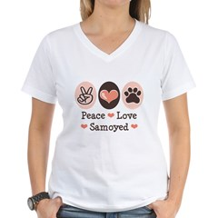 Peace Love Samoyed Women's V-Neck T-Shirt