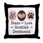 Peace Love Scottish Deerhound Throw Pillow
