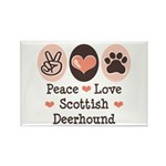 Peace Love Scottish Deerhound Rectangle Magnet