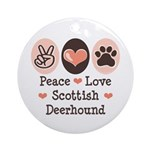 Peace Love Scottish Deerhound Ornament (Round)