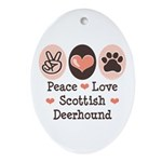 Peace Love Scottish Deerhound Oval Ornament