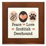 Peace Love Scottish Deerhound Framed Tile