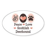 Peace Love Scottish Deerhound Oval Sticker