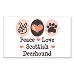 Peace Love Scottish Deerhound Sticker (Rectangular