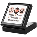 Peace Love Scottish Deerhound Keepsake Box
