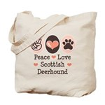 Peace Love Scottish Deerhound Tote Bag