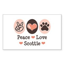 Peace Love Scottie Rectangle Decal