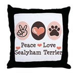 Peace Love Sealyham Terrier Throw Pillow