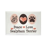 Peace Love Sealyham Terrier Rectangle Magnet (100
