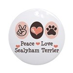Peace Love Sealyham Terrier Ornament (Round)
