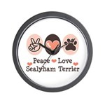 Peace Love Sealyham Terrier Wall Clock
